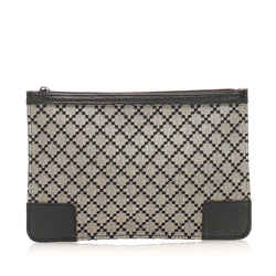 Vintage Authentic Gucci Gray Canvas Fabric New Diamante Pouch Italy w/ Dust Bag