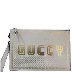 Gucci Guccy Star Print Leather Clutch Bag White 510489