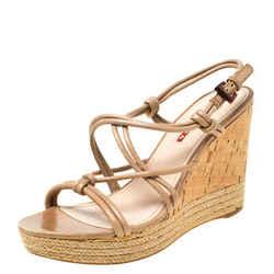 Prada Sport Beige Leather Strappy Cork Wedge Espadrille Platform Sandals Size...