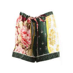 Oscar De La Renta 2019 Patchwork Floral Silk Pajama Shorts Sz M
