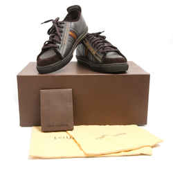 Louis Vuitton Brown Leather Grosgrain Logo Stripe Sneakers