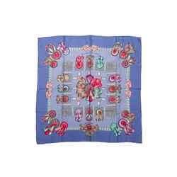 Periwinkle & Multicolor Hermes 'Les Rubans du Cheval' Silk Scarf