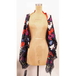 NEW $635 ALEXANDER MCQUEEN Navy FLORAL MYTHICAL CREATURE Modal Wool Shawl SCARF