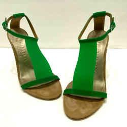 $650 Burberry Bright Green Beige Pvc Suede T-strap Heels Shoes Eu 37 Us 6.5