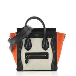 Tricolor Luggage Bag Canvas and Leather Nano