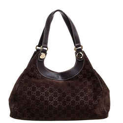Gucci Dark Brown GG Suede and Leather Medium Charmy Tote
