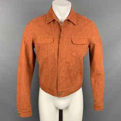 CALVIN KLEIN COLLECTION Size 38 Orange Heather Polyester Blend Hidden Placket Trucker Jacket