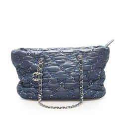 Vintage Authentic Chanel Blue Paris-Byzance Tweed On Stitch Shoulder Bag France