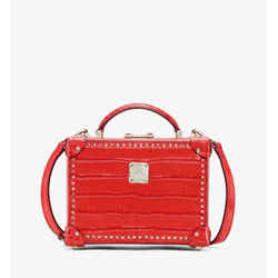 $1570 Mcm Berlin Red Crocodile Embossed Leather Crossbody Bag Mwr9abn91ru001