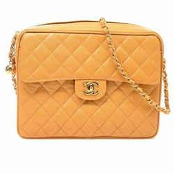 Auth Chanel Chanel Caviar Skin Coco Mark Turn Lock Chain Shoulder Bag Yellow