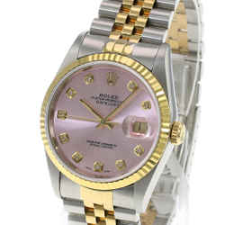 Rolex Mens Datejust Watch 16233 Two-tone 36mm Ice Pink Diamond Dial-NO HOLE
