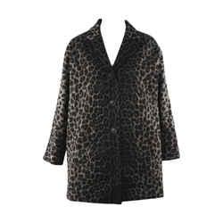 Dior Christian Black Gray Leopard Print Cotton Coat Sz 34