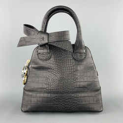 Paul Ka Black Crocodile Embossed Leather Mini Bow Handbag