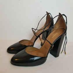 Karlie 105 Black Patent Lace Tie Pumps