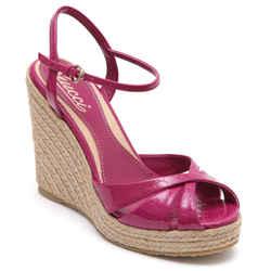 GUCCI Wedge Sandal Platform Patent Leather MICROGUCCISSIMA Fuchsia 36.5 NEW