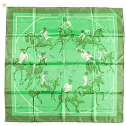 """Hermes 90cm Green & Beige """"ballet Equestre,"""" By Hubert De Watrigant Si..."""