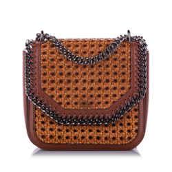 Brown Stella McCartney Falabella Box Rattan Crossbody Bag