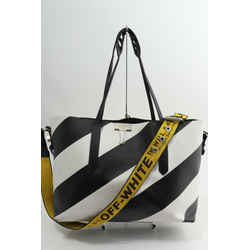 Off-White Black and white diagonal striped leather tote