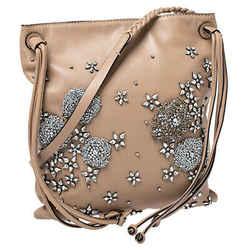 Valentino Beige Leather Crystal Embellished Vertical Shoulder Bag