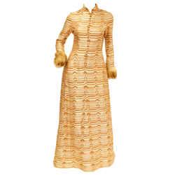 1970s Oscar De La Renta Couture Gold Evening Dress With Fur Cuffs