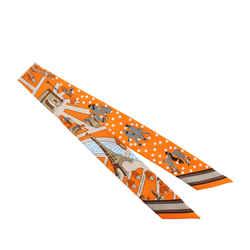 Orange Hermes Les Nouveaux Amoureux de Paris Twilly Silk Scarf