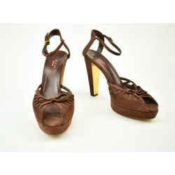 Gucci: Brown, Leather & Gold Sandals/heels Sz: 7.5m