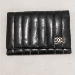 Chanel Black Silver Calfskin Flap Wallet White Stitching 2005 Authenticated