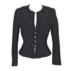 Chanel Vintage Black Tweed Speckled Sequins Cropped Jacket Very Pretty 4