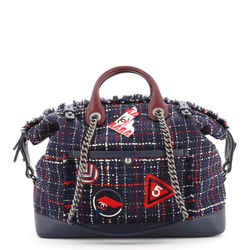 Crest Trip Bowling Bag Patch Embellished Tweed and Caviar Large