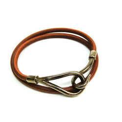 Hermes Jumbo Choker Leather,Metal Bangle Brown,Silver BF535716