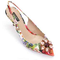 DOLCE & GABBANA Slingback Pump Floral Crystal Kitten Heel Textile Leather 39.5
