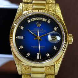 Rolex Mens Day-date Rare Factory Blue Vignette Dial 18k Gold Watch