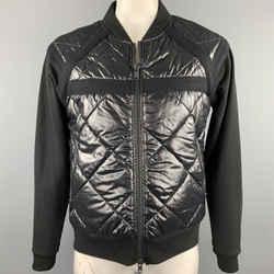DRIES VAN NOTEN Size L Black Quilted Cotton Blend Zip Up Jacket