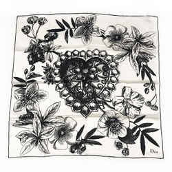 Christian Dior Floral Illustration Silk Scarf
