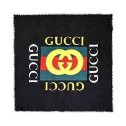 Gucci Web Stripe Logo Black Silk Blend Scarf Shaw 528953