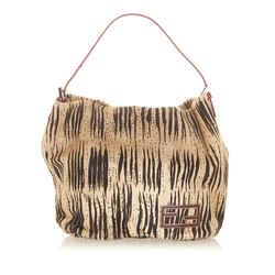 Vintage Authentic Fendi White Pony Hair Natural Material Handbag Italy