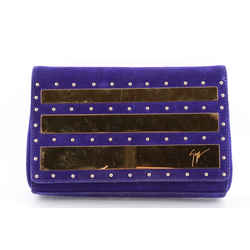 Giuseppe Zanotti Violet Suede Studded Clutch Blue One Size Authenticity Guaranteed