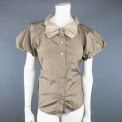 Marc Jacobs Size 8 Taupe & Beige Silk Balloon Sleeve Bow Blouse