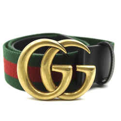 Gucci Green Red Marmont GG Stripe Belt Size 100/40