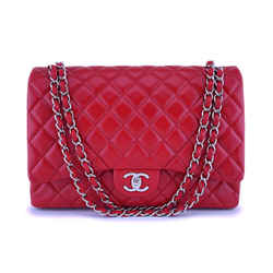 "Chanel Red Caviar Maxi ""jumbo Xl"" Classic Double Flap Bag Shw"