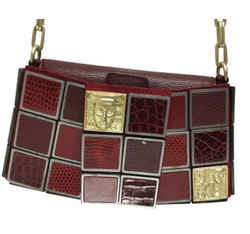 "Barry Kieselstein-Cord Evening Patchwork Burgundy Leather Shoulder Bag 4""L x 8""W x 1.5""H Item #: 24485261"