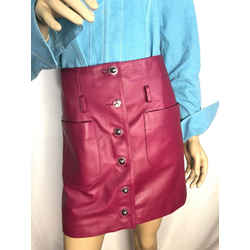 CHANEL 17A Lambskin Leather Skirt FR38 US6