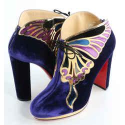 Christian Louboutin Velvet Mariposa Ankle Boots