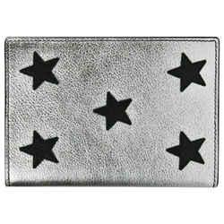 New Yves Saint Laurent Silver Metallic Leather Passport Holder 396921 8163