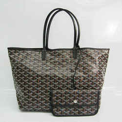 Goyard Saint Louis PM Women's Leather,Coated Canvas Tote Bag Black BF522258