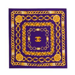 Chanel Gold Chain Silk Scarf