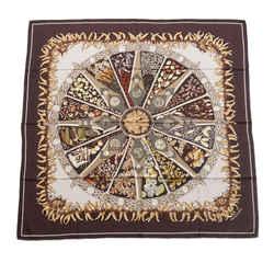 Vintage Authentic Hermes Brown Silk Fabric Aux Pays Des Epices Scarf France