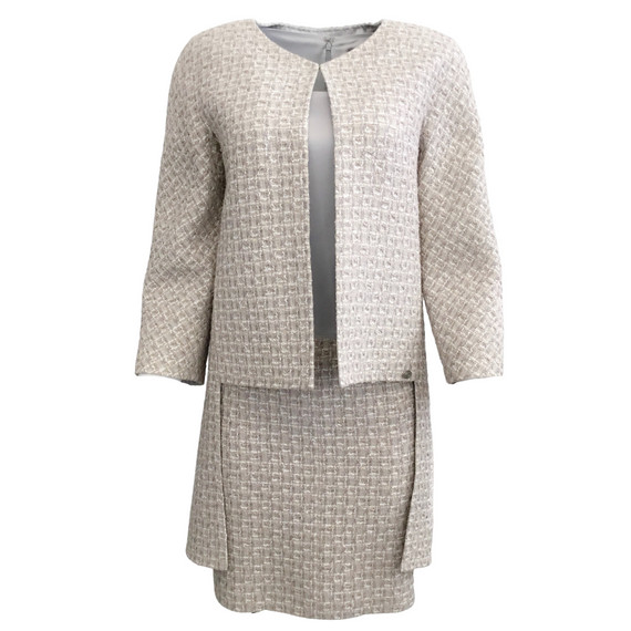 Chanel Grey Silk and Tweed Dress with Jacket