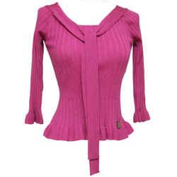 CHRISTIAN DIOR Sweater Knit Top Magenta Scoop Neck Tie 3/4 Sleeve Sz 36 4