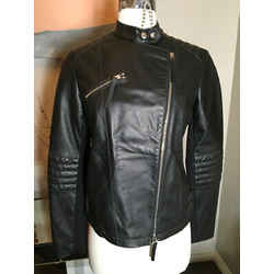 Emporio Armani Sz 42  Black Leather Leather Jacket 2400-155-11420